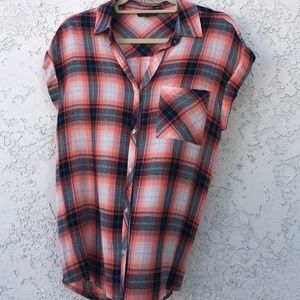 Plaid Flannel Capped Sleeve Shirt